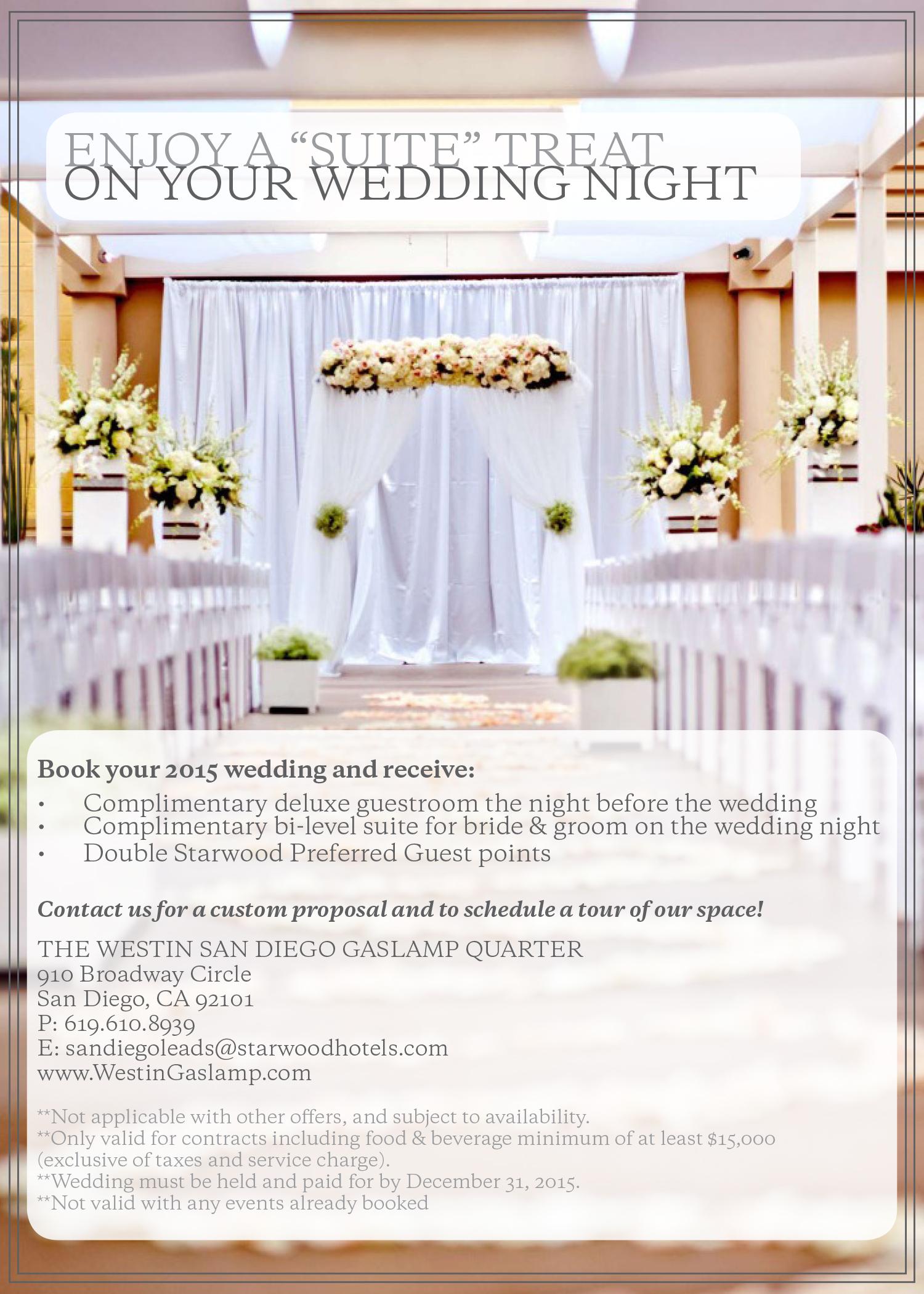wedding deal, westin hotel, westin gaslamp