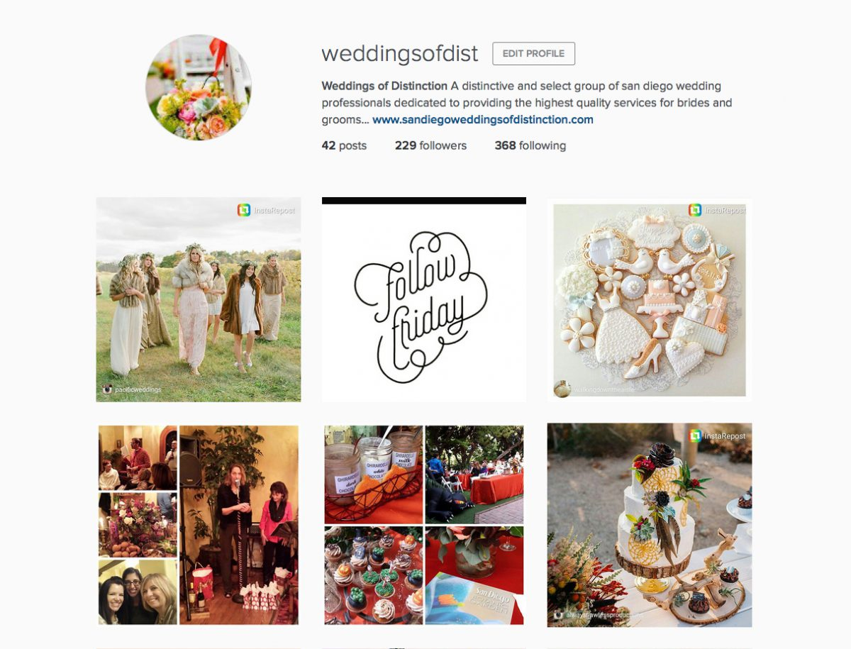follow friday :: weddings of distinction is on instagram!